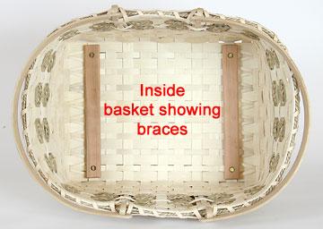 Inside basket showing braces