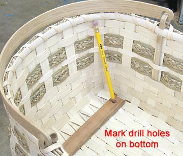 Mark drill holes on bottom