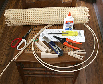 Cane webbing tools and materials.