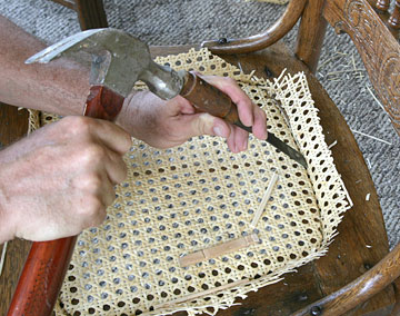 Cut webbing with straight chisel