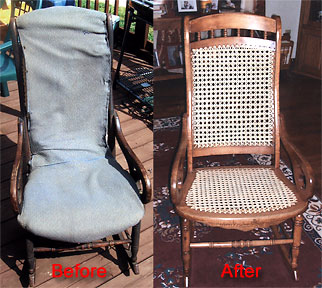 Before and after picture of a hand caned rocker.
