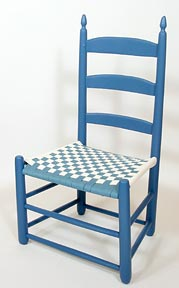 Blue chair with blue and white shaker tape seat