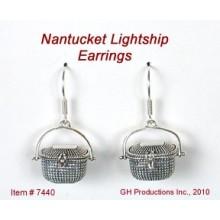 Sterling Silver Lightship Basket Earrings