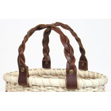 11 inch BRAIDED Leather Handles - pair
