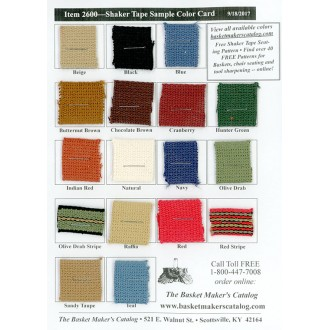 Shaker Tape Color Card