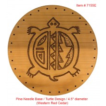 "TEMPORARILY OUT OF STOCK Pine Needle Base / Turtle Design / 4.5"" diameter (Cedar)"