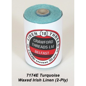 Turquoise Waxed Linen 2-ply