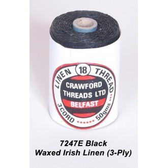 Black Waxed Linen 3-ply