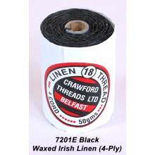 Black Waxed Linen 4-ply