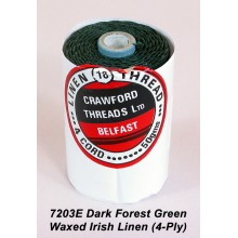 Dark Forest Green-Waxed Irish Linen 4-ply - Spool