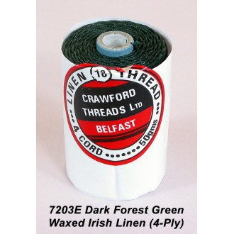 Dark Forest Green Waxed Linen 4-ply