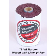 Maroon-Waxed Irish Linen 4-ply - Spool