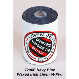 Navy Blue Waxed Linen 4-ply