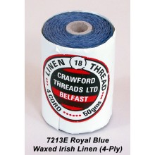 Royal Blue-Waxed Irish Linen 4-ply - Spool