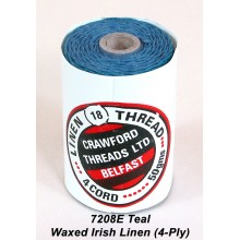 Teal Waxed Irish Linen 4-ply - Spool