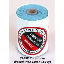 Turquoise-Waxed Irish Linen 4-ply - Spool
