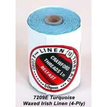 Turquoise-Waxed Irish Linen 4-ply - Spool