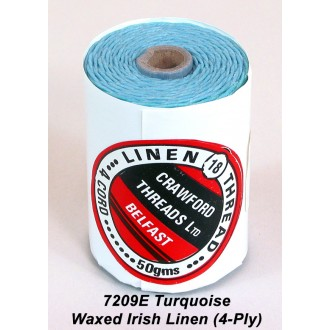 Turquoise Waxed Linen 4-ply
