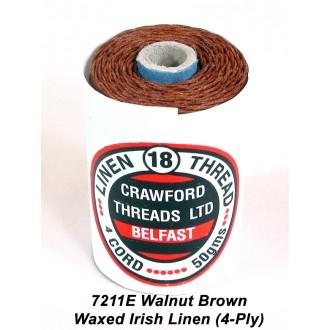 Walnut Brown Waxed Linen 4-ply