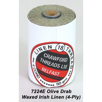 Olive Drab Waxed Linen 4-ply