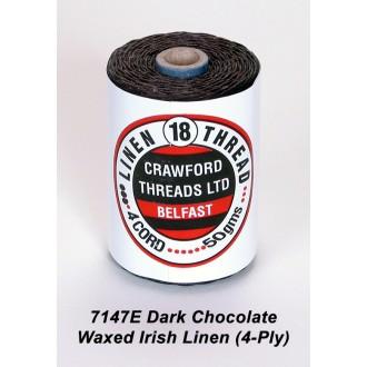 Dark Chocolate Waxed Linen 4-ply