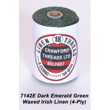 Dark Emerald Green Waxed Linen 4-ply