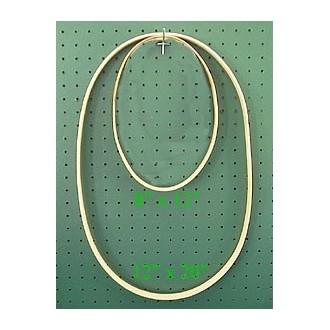 12 inch x 20 inch x 7/8 inch Oval Solid Hardwood Hoop