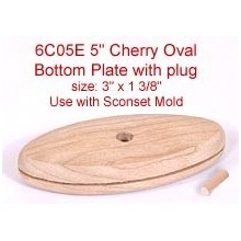 "5"" Cherry Oval Bottom Plate with Plug (Size of plate: 3"" x 1 3/8"")"