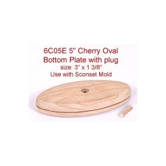"""5"""" Cherry Oval Bottom Plate with Plug (Size of plate: 3"""" x 1 3/8"""")"""
