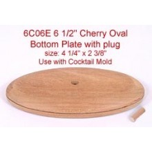 "6.5"" Cherry Oval Bottom Plate with Plug (Size of plate: 4 1/4"" x 2 3/8"")"