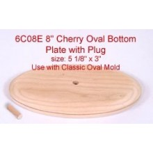 8 inch Cherry Oval Bottom Plate and Plug