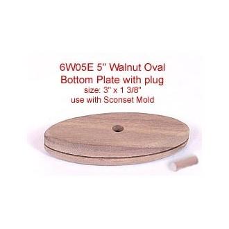 "5"" Walnut Oval Bottom Plate with Plug (Size of plate: 3"" x 1 3/8"")"