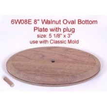 8 inch Walnut Oval Bottom Plate and Plug