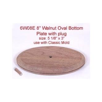 8 inch Walnut Oval Bottom Plate and Plug