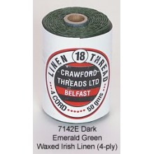 Dark Emerald Green Waxed Linen 4-ply by the yard
