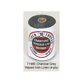 Charcoal Grey Waxed Linen 4-ply by the yard