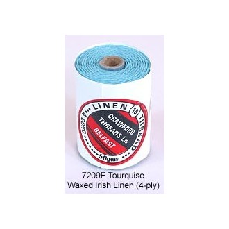 Turquoise-Waxed Irish Linen 4-ply by the yard