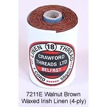 Walnut Brown-Waxed Irish Linen 4-ply by the yard