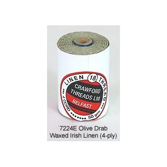 Olive Drab Waxed Irish Linen 4-ply by the yard