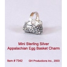 Mini Appalachian Egg Basket Charm Sterling Silver