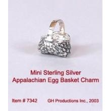 Mini Appalachian Egg Basket Charm Sterling Silver
