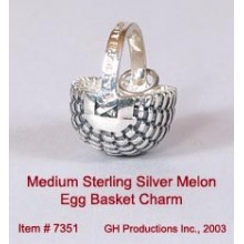 Medium Melon Egg Basket Charm Sterling Silver