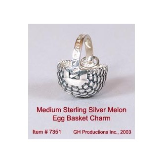 Medium Melon Egg Basket Charm Sterling Silver