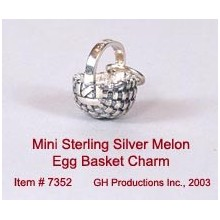 Mini Melon Egg Basket Charm Sterling Silver