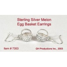 Silver Melon Egg Basket Earrings Sterling Silver