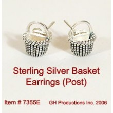 Basket Earrings Sterling Silver - with posts