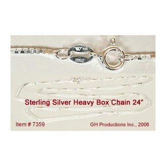 24 inch Heavy Box Chain Sterling Silver