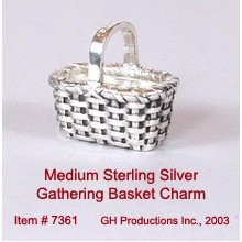 Medium Gathering Basket Charm Sterling Silver
