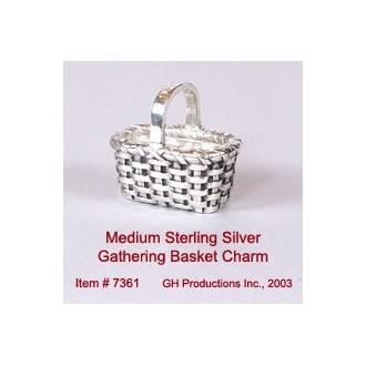 Medium Gathering Basket Charm Sterling Silver