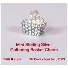 Mini Gathering Basket Charm Sterling Silver